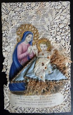 Antique Bouasse Lebel French Lace Holy Card Nativity circa Mid to Late 1800s