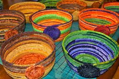 Here is your BURST of color for the day… Clothesline Rope Fabric Wrapped Bowls I have been creating these bowls . Rope Basket, Basket Weaving, Fabric Basket Tutorial, Fabric Bowls, Clothes Basket, Rope Crafts, Clothes Line, Fabric Covered, Fabric Scraps