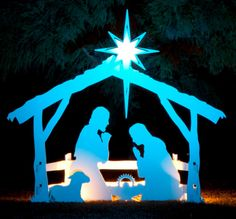 Large Outdoor Nativity Sets | Large White Outdoor Nativity | Artistically Detailed Silhouette Design