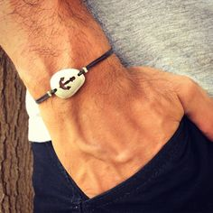 Men's Nautical Silver Plated Anchor Charm Friendship by IzouBijoux Silver Man, Silver Plate, Adjustable Knot, Anchor Charm, Bracelet Clasps, Electric Blue, Bracelets For Men, Thoughtful Gifts, Green And Grey