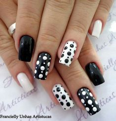 Want to try black acrylic nails but never knew what you wanted! We have put together a quick list of our favorite black acrylic nail designs to get your imagination going! Stylish Nails, Trendy Nails, Acrylic Nail Designs, Nail Art Designs, Nails Design, Black And White Nail Designs, Black White Nails, Blue Nail, White Hair