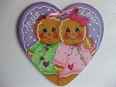 HP-gingerbread-Valentines-heart-true-love-FRIDGE-MAGNET-hand-painted
