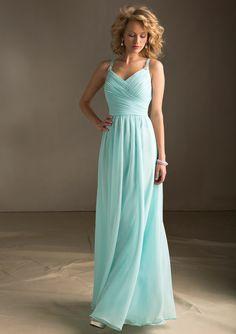 Elegant Ruching Beading A-line Floor-length Spaghetti Straps Chiffon Bridesmaid Dresses