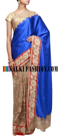Buy Online from the link below. We ship worldwide (Free Shipping over US$100) http://www.kalkifashion.com/half-and-half-saree-featuring-in-blue-and-beige-highlighted-in-zari-cut-work-embroidery.html Half and half saree featuring in blue and beige highlighted in zari cut work embroidery