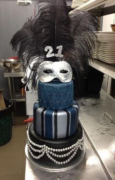 3 tiered Masquerade Cake in black, silver and midnight blue. The mask is edible