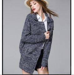 plain cardigan sweater for women hollow long sweater winter wear