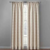 "84"" Tan Linked Tile Back Tab Window Curtains, Set of 2"