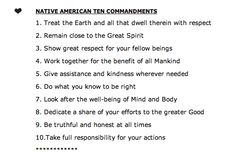 Native American Ten Commandments  as posted by Ina Garten