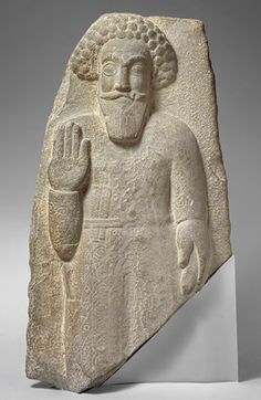 Standing man, 1st–2nd century a.d.; Parthian period Iran Gray stone  H. 30 1/4 in. (76.8 cm) Rogers Fund, 1951 (51.72.1)