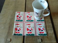 Two Small homemade Christmas gifts, Mug Rugs, Xmas Cup Coasters, Candle Trivets, Snack Mats, Mini Quilts, Santa lovers gift, Tea mats