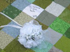 Wedding guest book quilt Patchwork Quilt Queen by secondsanctuary, $392.00