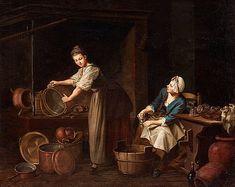 """PEHR HILLESTRÖM, """"Tvenne Qvinnor, den ena skurar kopparkärl och den andra skiölljer glas"""".  Kantförstärkt duk 59 x 73,5 cm. Samtida förgylld och bronserad ram. 9800891 bukobject"""