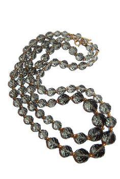 Two Strand Scarce Smoke Crystal Bead Necklace