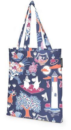 The Magic Moomin (Finnish: Taikamuumi) contains a touch of magic. The Moomin characters are enjoying their night by the dark blue sea. Magic Moomin is an origin Tove Jansson, Dark Blue, Blue And White, Black, Moomin Shop, Blue Magic, Cotton Bag, Go Shopping, Pattern Fashion