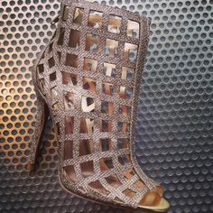 Qupid Metallic Cage Bootie | Bill Hallman