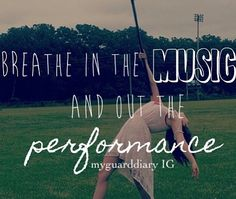 "Breathe in the music, and breathe out performance. ""Just breathe"" AHHHH it's the name of our show!!"