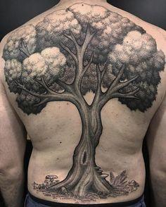 Big Tree Tattoo on Back by João Alien
