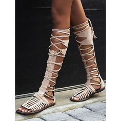 Beige Suede Lace Up Knee High Gladiator Flat Sandals chiclookcloset ($50) ❤…