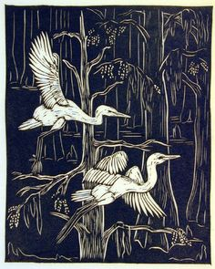 """White Egrets (from the series """"This our Land"""") - linocut 1948 - Anna Heyward Taylor, 1879-1956 U.S.A."""