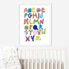 Funny monster drawing coloful Alphabet, nursery wall art room, kids wall art room. Meet the Alphabet. Encourage an early love of learning in your child with our Alphabet.
