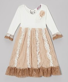 http://www.zulily.com/invite/vhanson979 Take a look at this Ivory & Tan Lace Ruffle Dress - Toddler & Girls by Posies & Peonies on #zulily today!