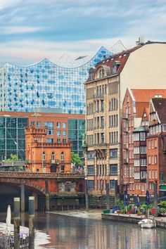 Picturesque view of Altstadt of Hamburg, Deichstrasse with philharmonie on background