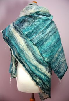 'Cobweb' felted scarf. Merino wool and silk fibres.
