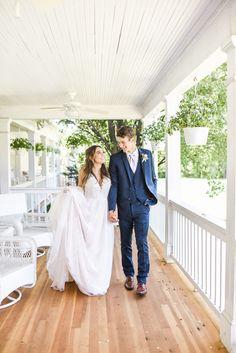 Summer wedding bride and groom photos on the outdoor porch Hawthorne House, Wedding Groom, Kansas City, Summer Wedding, Porch, Wedding Photos, Reception, Wedding Dresses, Photography