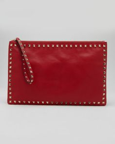 Rockstud Zip Clutch, Red by Valentino at Neiman Marcus.*Merry Christmas***