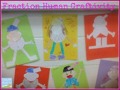 Teaching with a mountain view: Our Latest Fraction Projects! Fraction humans project and adding and subtracting fractions freebie! Teaching Fractions, Math Fractions, Maths, Fraction Activities, Math Activities, Educational Activities, Fraction Art, Fifth Grade Math, Sixth Grade