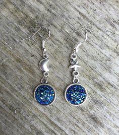 Earrings - Star - Moon - Asymmetrical - Druzy - Glitter - Blue - Folk - Hippie…
