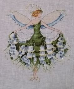 "Stitched to order, Spring Garden Party Collection for Pixie Couture by Nora Corbett ""Lily of the Valley"" NC129"