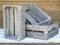 Rectangular Vintage Wooden Yardstick Crates, Rustic Brown, Set of 3