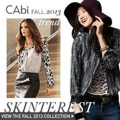 #CAbi Fall 2013 Trend: Skinterest. Skin prints are the ever-popular pattern, but CAbi turns leopard, skakeskin, and feather prints on their head in the Fall '13 Collection - check 'em out!