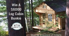 Hey Ontario friends,  you should totally click this link and enter to a win a $6000 Log Cabin Bunkie, they're totally amazing and worth taking the 2 second it takes to enter and give it a shot, best of luck!! Canadian Contests, Cottage Design, Ottawa, Play Houses, Outdoor Camping, The Great Outdoors, Cabins, Giveaways, Cottages