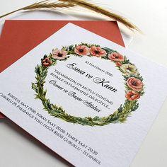 Çelenk Çiçekli Suluboya Düğün Davetiyesi Tasarım: © Dört Köşe Davetiye