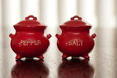 Vintage Red Salt and Pepper Shaker Pots