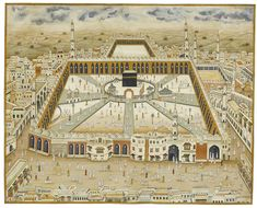 A large view of Mecca, India, century gouache on paper, ruled in gold and black, with a narrow blue-grey border by Islamic World, Islamic Art, I Miss You Wallpaper, World Religions, Historical Art, World Best Photos, Illuminated Manuscript, Fine Art America, 19th Century
