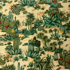 One Half Yard of Fabric Material Succulents by CraftingFabric
