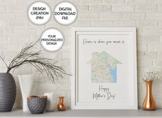 Mothers Day Gift From Daughter Personalized Mother's Map | Etsy Map Wall Art, Map Art, Wall Art Decor, First Home Gifts, New Home Gifts, Personalized Housewarming Gifts, Mothers Day Gifts From Daughter, House Map, House Gifts