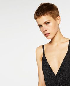 Image 7 of LIMITED EDITION LONG DRESS from Zara Very Short Pixie Cuts, Very Short Hair, Short Hair Cuts, Short Hair Styles, Tomboy Hairstyles, Cool Hairstyles, Kirsten Stewart Short Hair, Shaved Head Women, Shaved Hair