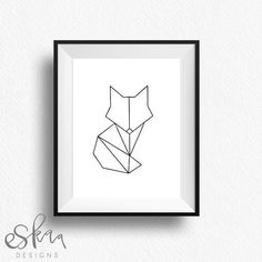 Image result for geometric fox line drawing