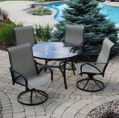 381 Backyard Creations 5 Piece Augustine Dining Collection Backyard  Creations, Bistro Set, Back