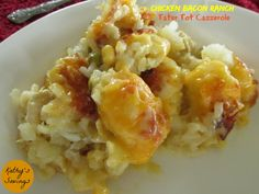 Chicken Bacon Ranch Tater Tot Casserole: Ingredients 1-2 cups cut up chicken breast 1/2 cup ranch dressing (the liquid ranch in a bottle) 8 oz. shredded cheese (your choice of kind) 4-6 slices of bacon (add more or less as you wish) Tater Tots 1 … Continue reading →