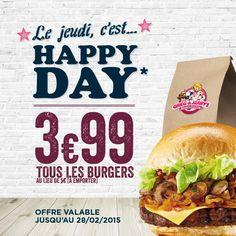 Happy Day: Tous les Burgers à 3.99€ le jeudi