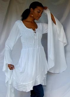 WHITE BLOUSE TOP RUFFLED SMOCKED WRAP - FITS (ONE SIZE) - L XL 1X - V463S LOTUSTRADERS LOTUSTRADERS. $52.99
