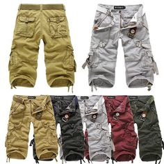 Men Casual Army Cargo Combat Camo Cotton Overall Shorts Sports Pants Trousers #9
