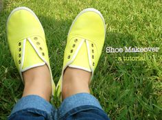 Sweet Verbena: Shoe Makeover - inexpensive tennis shoes dyed a cute color and laces replaced with elastic. So cute!