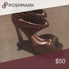 Open Toe Heels Brand New Bronze Heels made by Bakers!! Worn once. Great condition. Bakers Shoes Heels