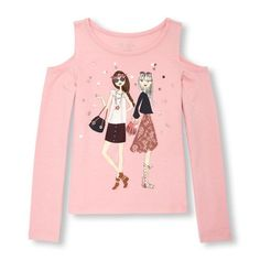 ddbed33a8 Girls Long Sleeve Embellished Graphic Cold-Shoulder Top - Pink - The  Children's Place Cute